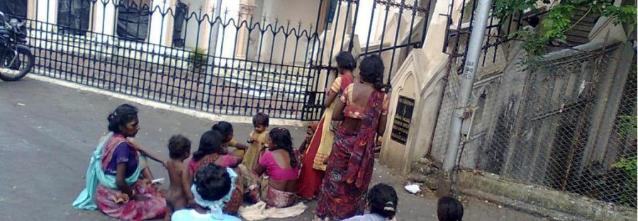 Beggars sitting in front of the famous Mount Mary Church, Bandra west, Mumbai. Photo by PP Chandra.