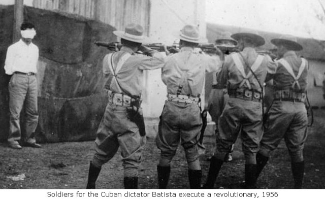Soldiers for the Cuban dictator Fulgencio Batista executing a revolutionary by firing squad in 1956 during the early stages of the Cuban Revolution
