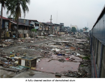 slum cleared out completely next to the train tracks in manila