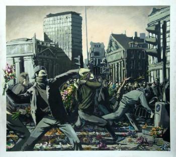 """Riot"" by Bunksy, posted by Ernani Baraldi"