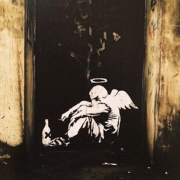 Drunk Angel by Banksy on London Bridge
