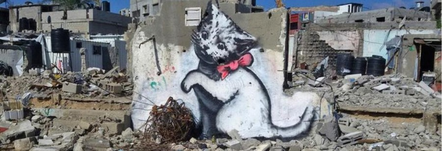 Kitten, by Banksy, in Gaza