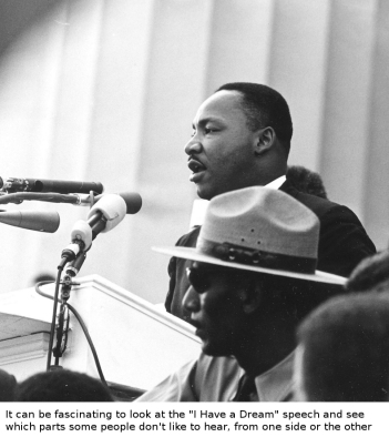 "The Rev. Martin Luther King Jr. delivers his ""I Have a Dream"" speech during the March on Washington, August 28, 1963. (Rowland Scherman / National Archives)"
