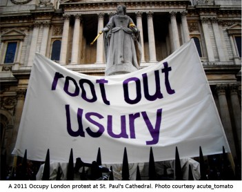 2001 Occupy London protest at St. Pul's Cathedral. Photo courtesy acute_tomato at Flickr, https://www.flickr.com/photos/acutetomato/6292173027/