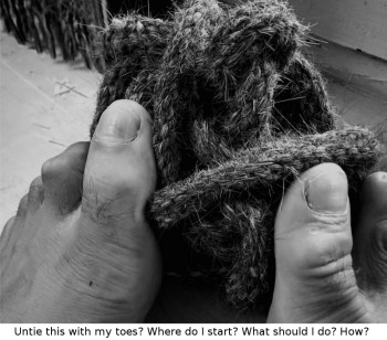 untie a knot with your toes - complexity!
