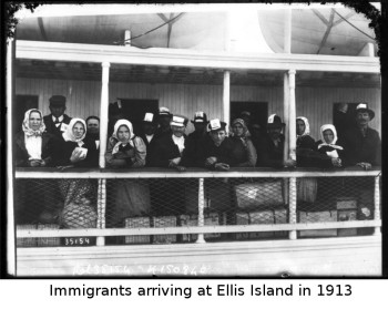 Immigrants arriving at Ellis Island in 1913. Photo courtesy National Library of France.