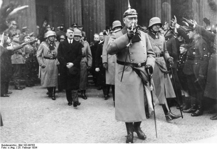 Hindenburg and Hitler during the national day of mourning – Feb 25, 1934 from the German Federal Archive