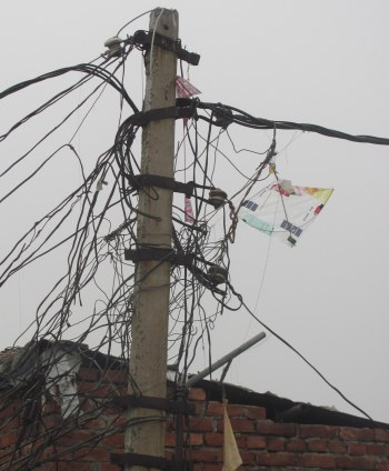electricity power wires mess nest safety hazard
